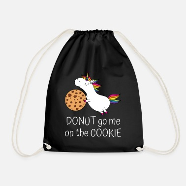 Unicorn biscuit saying donut go me on the cookie ws - Drawstring Bag