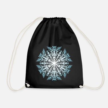 Blue White Snowflake white-blue - Drawstring Bag