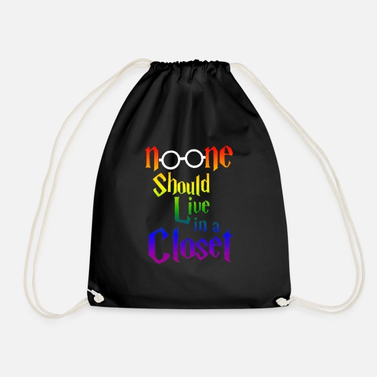 Closet Bags & Backpacks - no one should live in a closet - Drawstring Bag black
