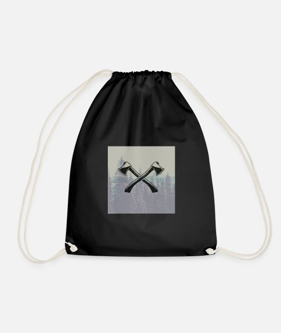 Beard Bags & Backpacks - Hipster ax tattoo - Drawstring Bag black