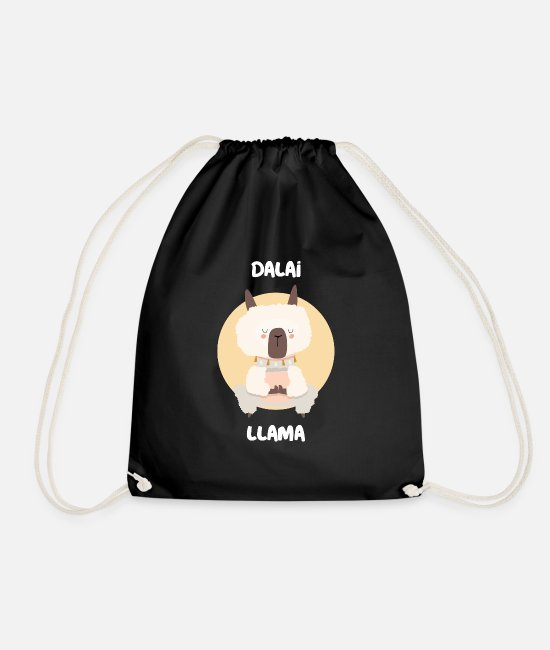 Nature Bags & Backpacks - Dalai Llama - funny yoga motif - Drawstring Bag black
