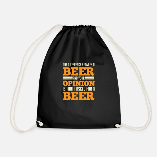 Funny Bags & Backpacks - Funny beer Gift your opinion Beer garden - Drawstring Bag black