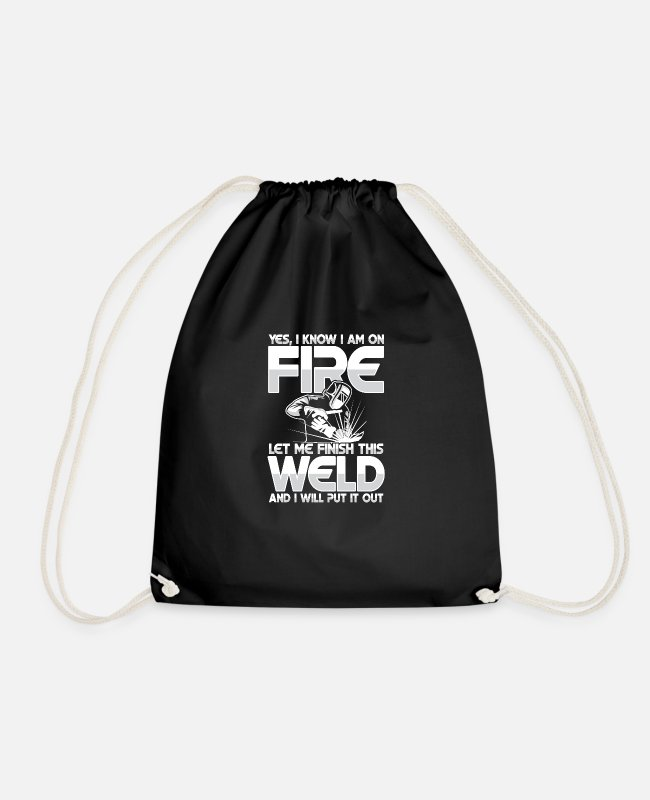 Sheet Metal Worker Bags & Backpacks - Let me finish this weld - Drawstring Bag black