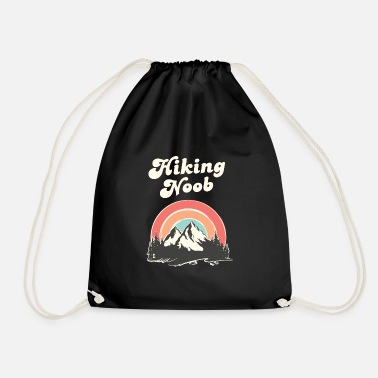Hiking Noob, Newbie, Mountains, Retro, Vintage - Drawstring Bag