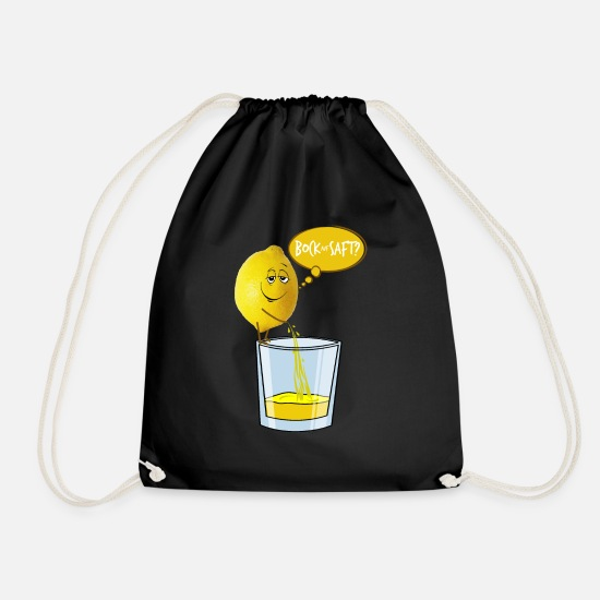 Lemon Bags & Backpacks - Lemon peels juice into a glass - buck on juice? - Drawstring Bag black