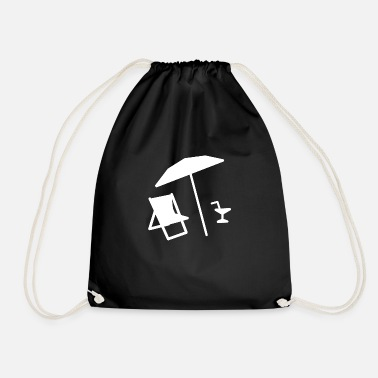 Beach Umbrella Beach lounge chair umbrella cocktail - Drawstring Bag