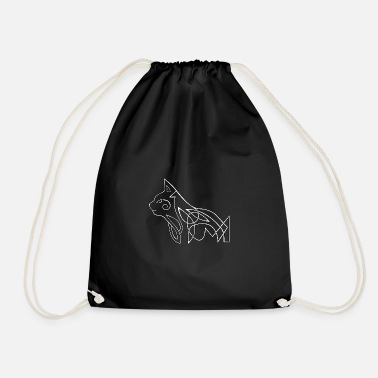 Celtic cat (white) - Drawstring Bag