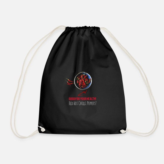 Health Bags & Backpacks - Chilli Peppers - Drawstring Bag black