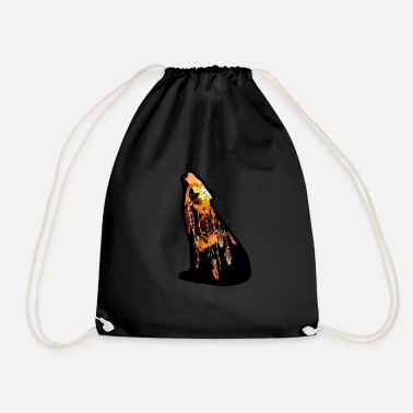 Wolf double image mystic dream - Drawstring Bag