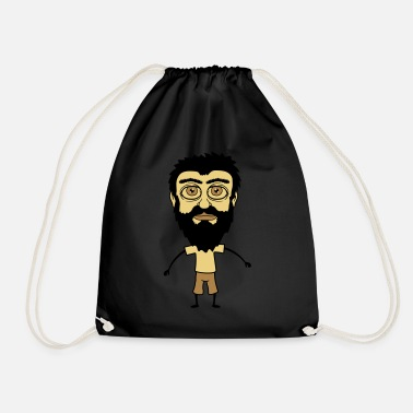 Mustache dwarf little funny beard hair head comic carto - Drawstring Bag