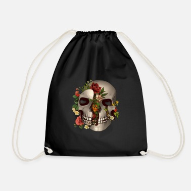 Nature Collection Skull plants roses - Drawstring Bag