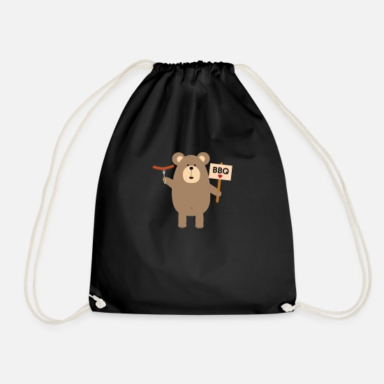 Cook Bags & Backpacks - BBQ - brown bear with sausage - Drawstring Bag black