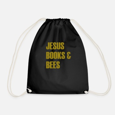 Funny Bee Sayings JESUS BOOKS & BEES funny t-shirt design - Drawstring Bag