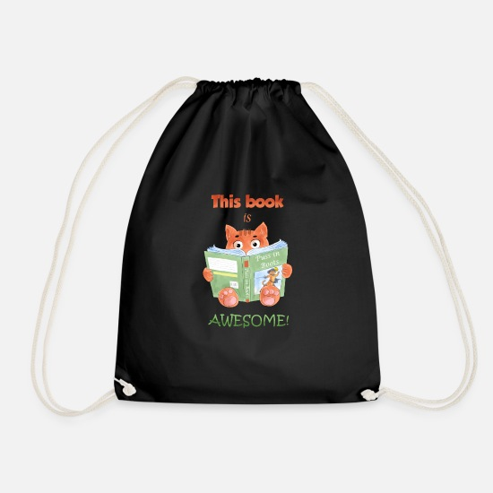 This Book Is Awesome Drawstring Bag Black