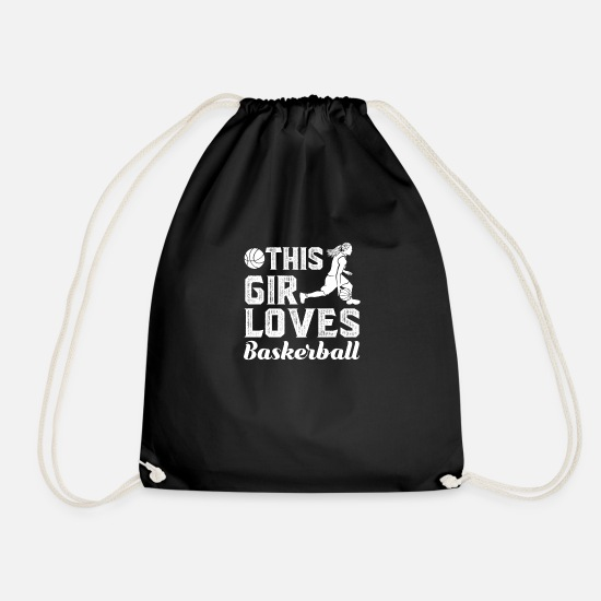 Basketball Bags & Backpacks - Gift for basketball women, basketball player - Drawstring Bag black
