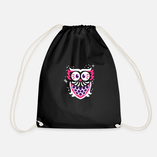 Night Owl Bags & Backpacks - Owl - owl - night - Drawstring Bag black