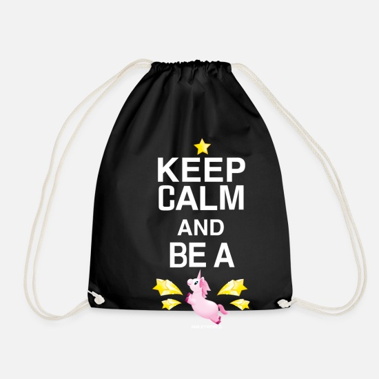 Unicorn Bags & Backpacks - SmileyWorld Keep Calm and Be A Unicorn - Drawstring Bag black