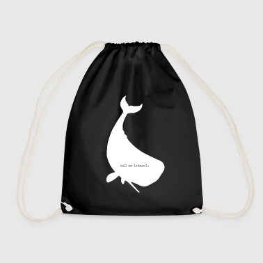 ishmael whale silouette - Drawstring Bag