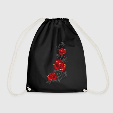 Tendril with red roses and leaves - Drawstring Bag