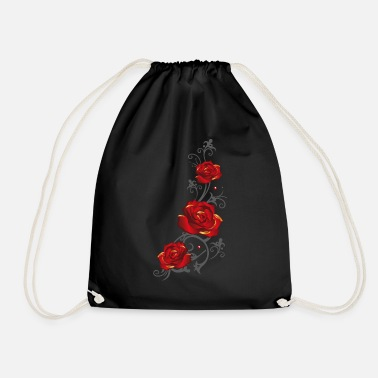 Drawstring Tendril with red roses and leaves - Drawstring Bag
