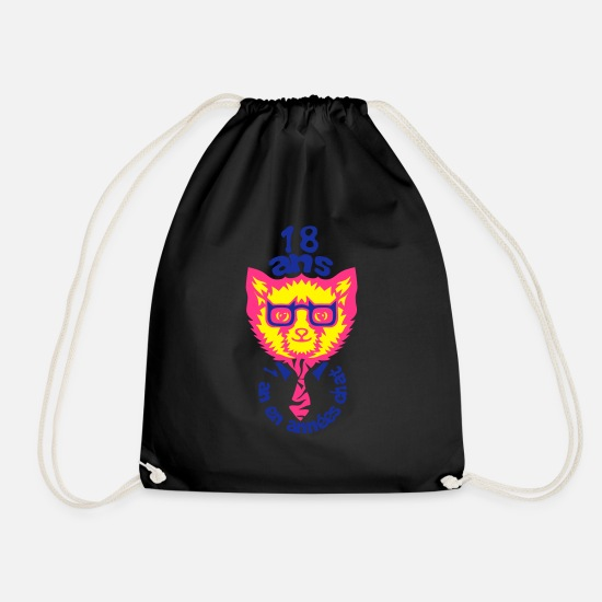Year Bags & Backpacks - 18 year anniversary chat - Drawstring Bag black