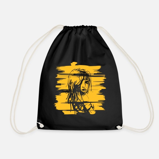 Image Bags & Backpacks - Rough texture with woman portrait - Drawstring Bag black