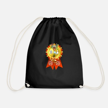 Christmas Scene Rosette - Drawstring Bag