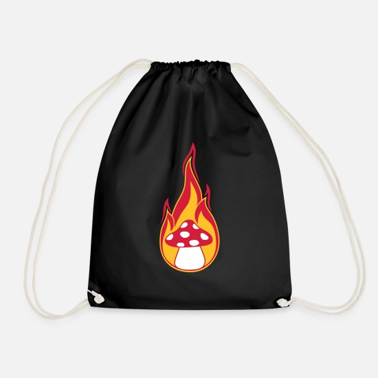 Fungal Bags & Backpacks - fire burn flames hot mushroom fly agaric red p - Drawstring Bag black