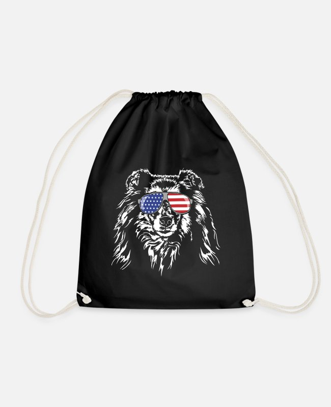 Obedience Bags & Backpacks - Long haired COLLIE America flag Wilsigns dogs - Drawstring Bag black