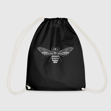 artfully designed white bee - Drawstring Bag