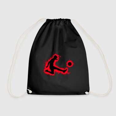 Pigskin Silhouette football red and black outline - Drawstring Bag