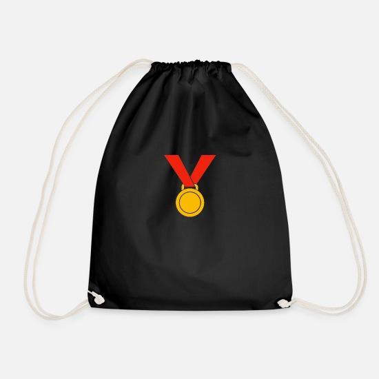 Birthday Bags & Backpacks - medal - Drawstring Bag black