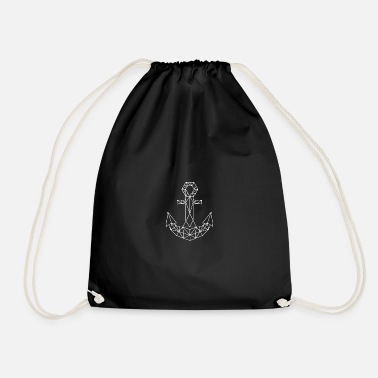 Kiel simple origami anchor in maritime northern Germany - Drawstring Bag