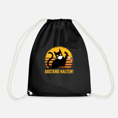 Cat Keep Your Distance Keep your distance black cat gift idea - Drawstring Bag
