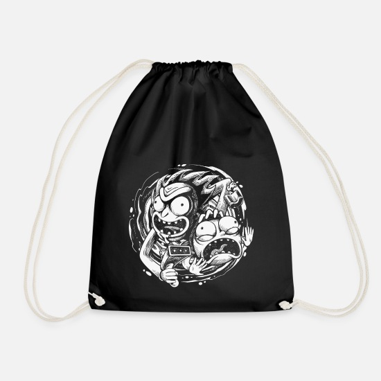 Cool Bags & Backpacks - Rick And Morty Time Warp Travels - Drawstring Bag black