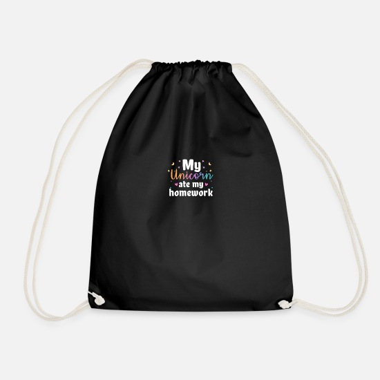 Magic Bags & Backpacks - My Unicorn Ate My Homework - Drawstring Bag black