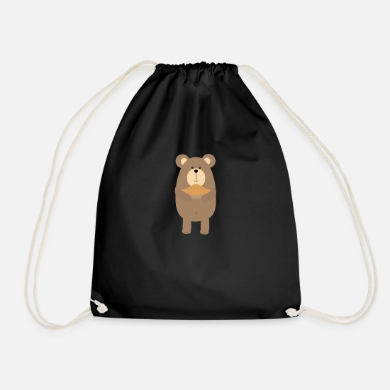 Polar Bags & Backpacks - Brown bear cake - Drawstring Bag black