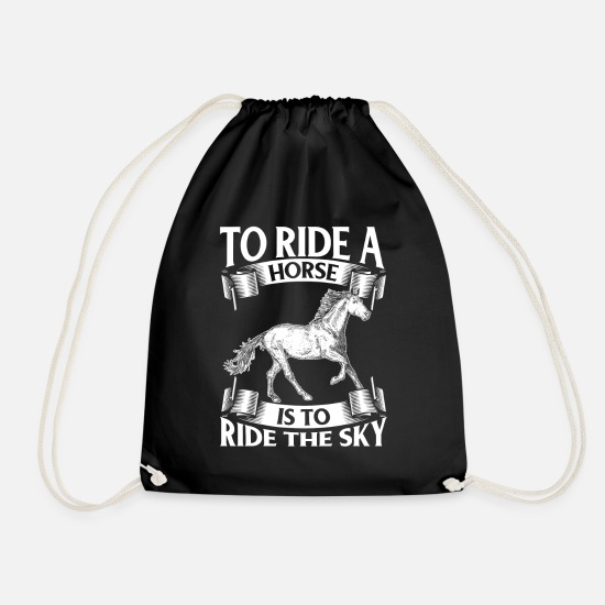 Skies Bags & Backpacks - To Ride A Horse Is To Ride The Sky - Drawstring Bag black