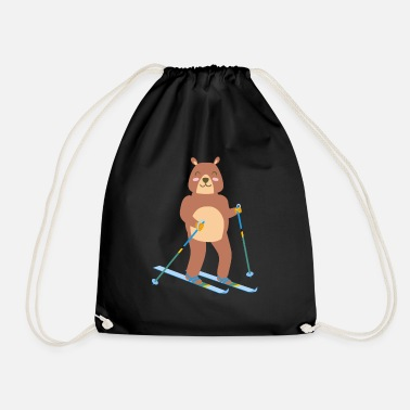 Winter Sport Bear ice skiing cute sport winter gift idea - Drawstring Bag