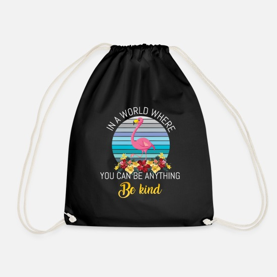 Gift Idea Bags & Backpacks - Flamingo water bird gift - Drawstring Bag black