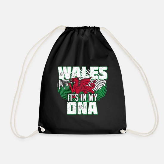Welsh Bags & Backpacks - Wales is in my DNA - Drawstring Bag black