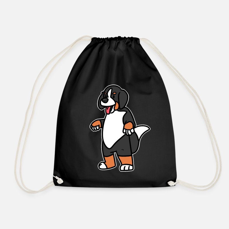 Coat Bags & Backpacks - Bernese Mountain Dog Mascot - Drawstring Bag black