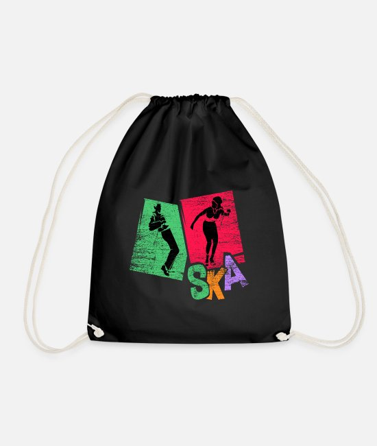 Rock Bags & Backpacks - Ska music gift - Drawstring Bag black