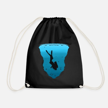 Water Diver under water - Drawstring Bag