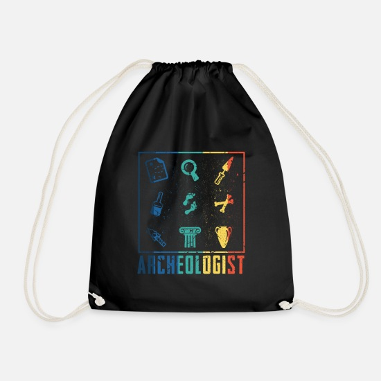 Birthday Bags & Backpacks - Vintage archeology discovery gift - Drawstring Bag black