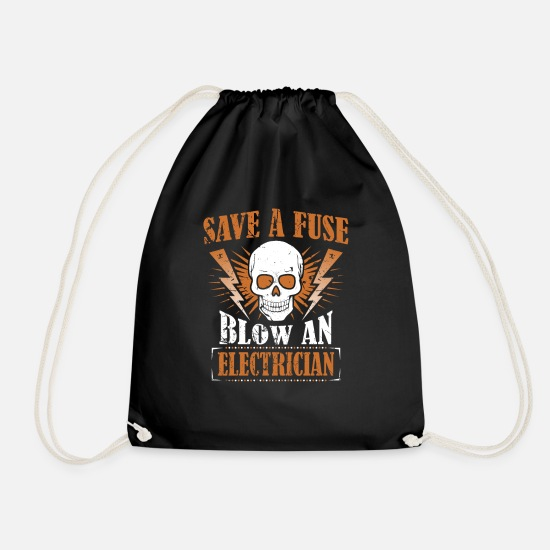 Gift Idea Bags & Backpacks - Electrician fuse - Drawstring Bag black