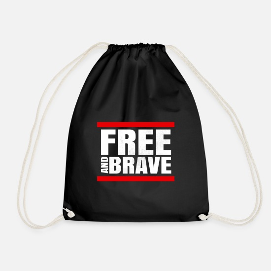 Mood Bags & Backpacks - Free and Brave - Drawstring Bag black