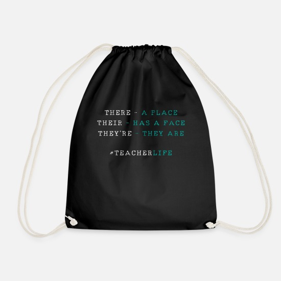 Teacher Bags & Backpacks - English teacher of grammar - Drawstring Bag black