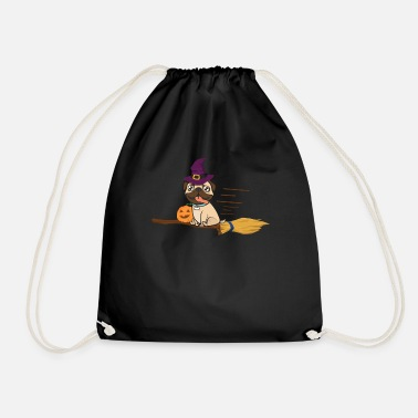 Carri Halloween Pug Witch On A Broom Dog Lover Gift - Drawstring Bag