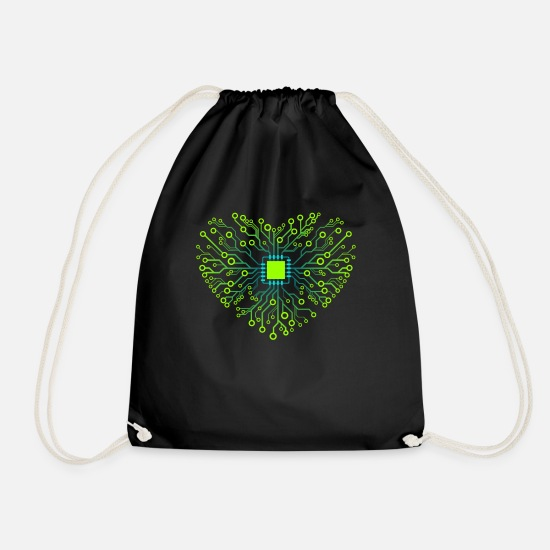 Love Bags & Backpacks - Computer core processor CPU heart GREEN - Drawstring Bag black